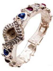 【送料無料】calinwomens silver finish multi color crystal stones heart links analog watch