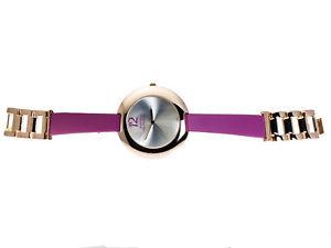 【送料無料】montres defleurwomens metal with fuchsia color leather rosegold finish watch
