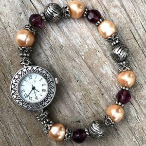 【送料無料】jennie b womens novelty beaded bracelet quartz watch with fresh battery