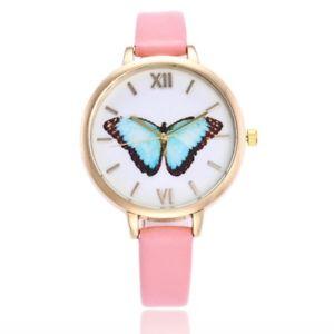 【送料無料】pink butterfly ladies fashion quartz watch