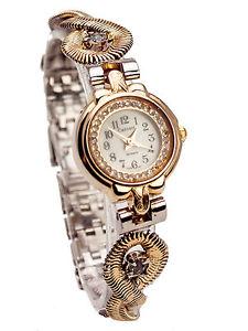 【送料無料】monduwomens goldsilver finish stones case links analog quartz watch