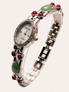 【送料無料】infinitywomens antique semi precious color stones links analog quartz watch