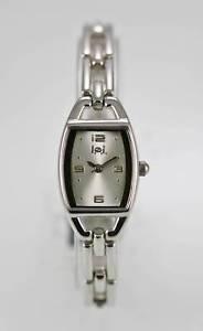 【送料無料】lei watch womens white stainless silver battery easy read water resistant quartz