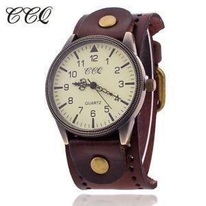 【送料無料】ccq women vintage cow leather bracelet watch men casual sport wristwatch lux