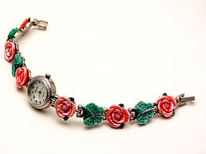 【送料無料】womens antique silver finish rosesbutterfly links case analog quartz watch