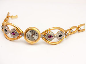 【送料無料】womens gold finish dress metal bracelet analog watch