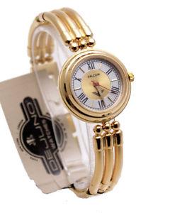 【送料無料】dejunowomens stainless steel gold finish metal bracelet analog watch