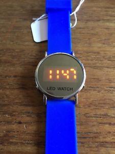 【送料無料】ladiesgents ss led watch with blue strap w61858