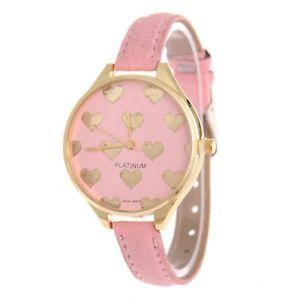 【送料無料】gold heart patterned pink ladies fashion watch