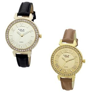 【送料無料】womens glitz michael designer sparkle luxurious roman numeral small wrist watch