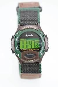 【送料無料】aqualite watch mens chrono light date alarm 24hr brown green nylon 30m quartz