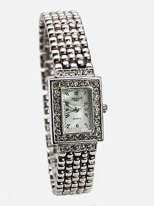 【送料無料】monduwomens silver finish rectanguler rhinestones case links analog watch