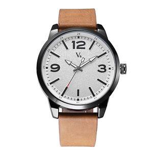 【送料無料】v6 b011 fashion men wrist watch casual waterproof business man leather quartz wa