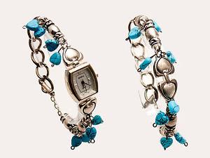 【送料無料】genevawomens silver finish turquoise heart hinging bracelet analog watch set