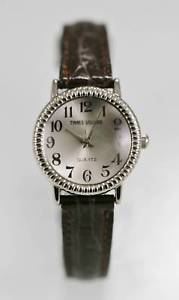 【送料無料】times square watch womens stainless silver brown leather water resistant quartz
