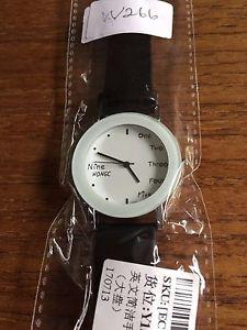 【送料無料】ladiesgents fashion watch with pu leather strap w266