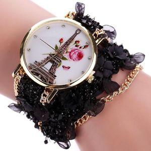 【送料無料】women dress fashion watch duoya flower eiffel tower bracelet quartz wristwatc