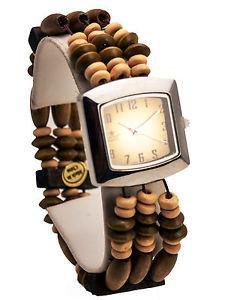 【送料無料】cannaswomens antique look wood streach beads links analog quartz square watch