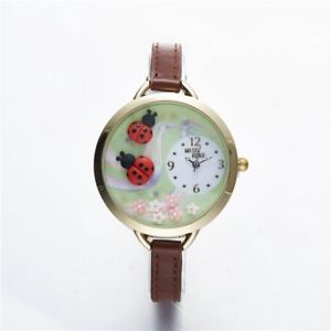 【送料無料】ladybug watch kids girl brown thin leather strap quartz wristwatches round alloy