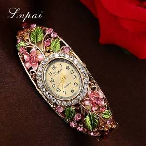 【送料無料】lvpai fashion gold watches bracelet watch women flower gemstone classic alloy