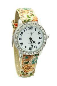 【送料無料】 ladies yellow brown floral patern leather strap analogue silver plated watch
