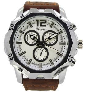 【送料無料】geneva mens brown strap large case watch