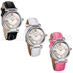 【送料無料】fashion roman numberals leather strap womens girls waterproof quartz wrist watch