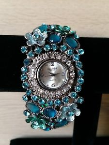 【送料無料】figaro couture blue flower bracelet watch