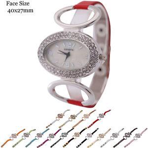 【送料無料】ladies geneva oval shape 2 row cz genuine leather fashion watch 40x27mm
