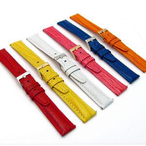 【送料無料】coloured padded lizard grain leather watch strap 18mm 20mm 6 colours c008