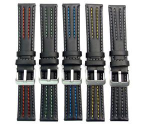 【送料無料】prism calf leather watch strap coloured contrast stitching 18mm 20mm 22mm c063