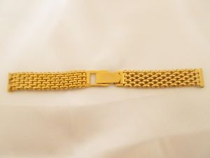 【送料無料】gold tone rice grain 16mm watch strap adjustable clasp