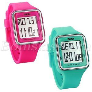 【送料無料】students candy color square rubber sport waterproof led digital date wrist watch