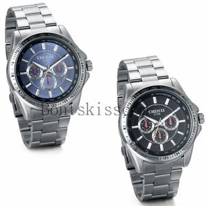 【送料無料】classic business mens luxury sport stainless steel analog quartz wrist watch