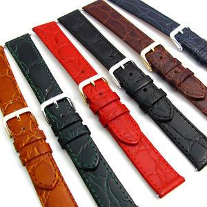 【送料無料】genuine flat calf leather watch strap crocodile croc grain 16mm 18mm 20mm d007