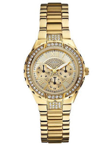guess u0111l2 womens gold tone stainless steel sparkling multifunction watch