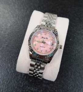 【送料無料】ds orologio polso fluoro donna analogico quarzo data silver quad rosa lac