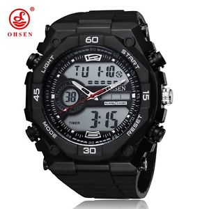 【送料無料】ohsen 2812 digital led analog double display men wrist sport watch