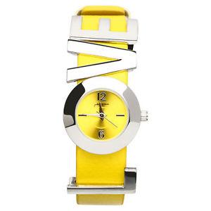 【送料無料】jules james womens leather yellow watch