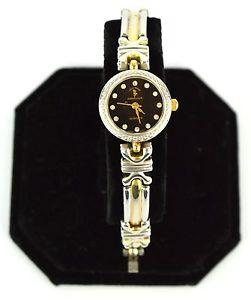 【送料無料】hollywood riding club stainless silver amp; gold toned rhinestone wrist watch