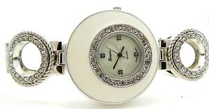 【送料無料】womens stylish silver tone cz bezel quartz bracelet wrist quartz watch