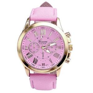【送料無料】pink color cancer awareness rare novelty leather woman watch quartz