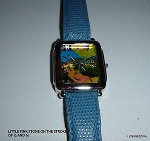 【送料無料】genuine leather strap hollywood watch bnwot or box needs battery rhinestones