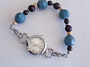 【送料無料】womens quartz watch beaded bracelet