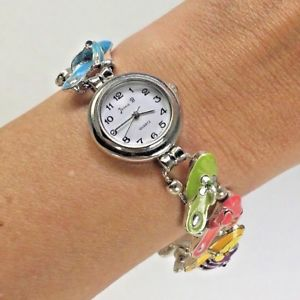【送料無料】jennie b for avon colorful sandals enamel charm bracelet womens fashion watch