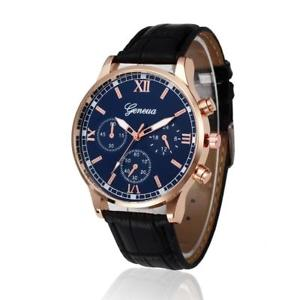 【送料無料】mens casual pu leather watch