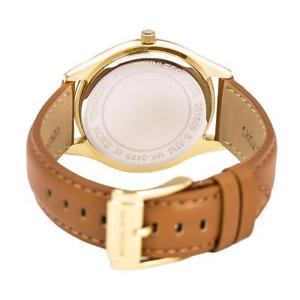 michael kors mk2465 slim runway gold tone watch brown leather strap 42mm