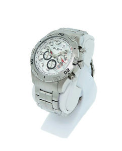 elgin 1863 521061 mens round silver tone analog chronograph date watch