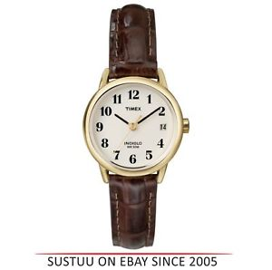 timex womens t20071 easy reader analouge watch│leather strap│night light│brown│