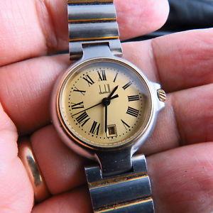 【送料無料】swiss made solid gold bezel amp; link parts dunhill quartz lady watch free ship